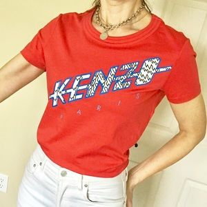 Kenzo graphic logo tee top red S
